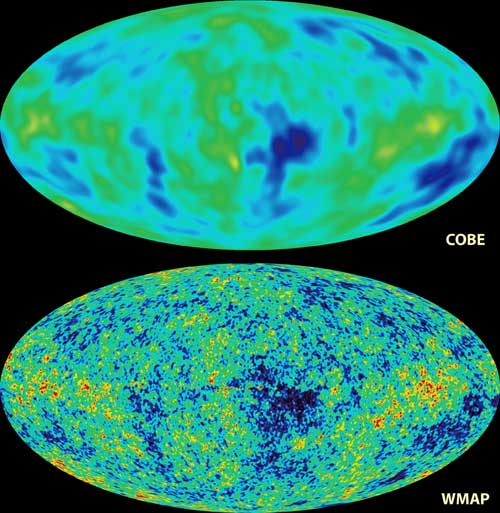 Comparsion of the sky maps taken by COBE and WMAP