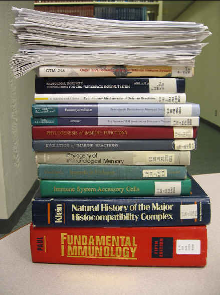 Articles and books on immune system evolution presented to Michael Behe during the Dover Trial